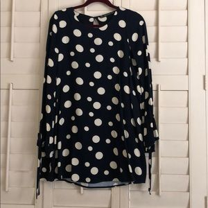 Zara navy polka dot long sleeve dress